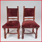 REDUCED Pair of Antique German Dollhouse Miniature Rock & Graner Side Chairs from the Roth