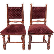 Pair of Antique German Dollhouse Miniature Rock & Graner Side Chairs from the Rothenburg .