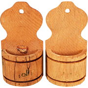 """Pair of Antique German Wooden Hanging Wall Canisters Late 1800s Large 1"""" Scale"""