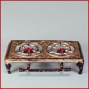 Tynietoy Doll House Miniature Cast Metal Two Burner Hot Plate by Gerlach 1920s - 1930s Large 1