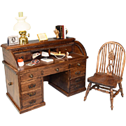 Dollhouse Miniature Wooden Roll Top Desk and Chair by Reminiscence – Accessories Included ..