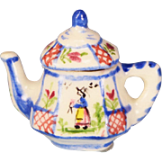 Dollhouse Miniature Porcelain Quimper Teapot by Janice Crawley Canadian Artist and I.G.M.A ...