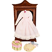 """Dollhouse Miniature Victorian Style Dress, Hat Box and Hat Late 1980s 1"""" Scale"""