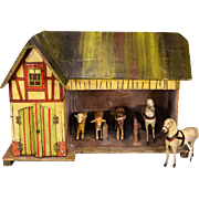 """Antique German Toy Stable with Animals Late 1800s Small 1"""" Scale"""
