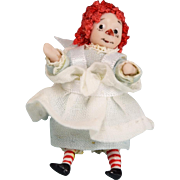 "REDUCED 1 5/8"" Miniature Bisque Raggedy Ann Dollhouse Doll by Ethel Hicks – Angel ..."