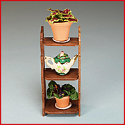 "REDUCED Artisan Wall Shelf with Potted Plants & Teapot Early 1990s 1"" Scale"