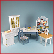 Vintage Dollhouse Miniature Kitchen Furniture by Concord and Others Plus Accessories Early 199