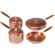 """Dollhouse Miniature Set of 4 Copper Pots and Pans by Ray Fisk 1980s 1"""" Scale"""