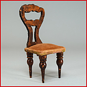 German Dollhouse Empire Faux Grain Side Chair from the Flora Gill Jacobs Estate Mid 1800s 1""