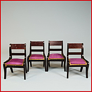 Set of 4 Antique Dollhouse Biedermeier Boulle Side Chairs from the Flora Gill Jacobs Estate Mi