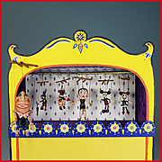 Hand Painted Miniature Toy Theater by Barbara Sundberg with 6 Fimo Clay Marionettes by Tony Co