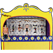 Hand Painted Miniature Toy Theater by Barbara Sundberg with 6 Fimo Clay Marionettes by Tony ..
