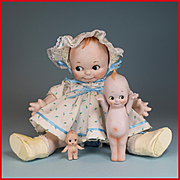 3 Adorable Bisque Kewpie Type Dolls Shackman and Others