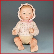 "7 1/2"" Artisan Bisque Bye Lo Type Baby Doll Signed Lydia with Knitted Outfit by Ursula Oh"