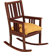 """Antique German Dollhouse Wooden Rocking Chair by Gottschalk Early 1900s Large 1"""" Scale"""