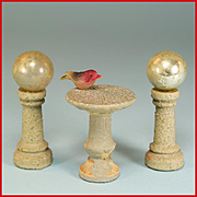 Dollhouse Bird Bath and Pair of Gazing Balls on Pedestals - Easy Built Garden Accessories by J