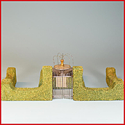 """Dollhouse Miniature Hedge, Gate and Fountain 1940s - 1950s 1"""" Scale"""