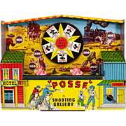 "Working Wyandotte Mechanical Tin Litho ""Posse"" Shooting Gallery #3908 1950s"