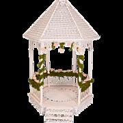 """Dollhouse Miniature White Wire Wicker Hexagonal Gazebo 1990s 1"""" Scale"""