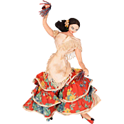 """11""""  Layna Doll - Spanish Flamenco Dancer - Cloth and Wire Tourist Doll 1950s - 1960s"""
