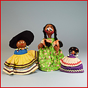 "3"" - 6"" Group of 3 Souvenir Dolls - 2 Seminole Indian Dolls and a Mexican Straw and"