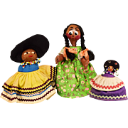 """3"""" - 6"""" Group of 3 Souvenir Dolls - 2 Seminole Indian Dolls and a Mexican Straw ..."""