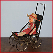Antique Folding Doll Stroller with Original Leather Seat Small Doll Size