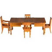 "Antique Dollhouse Extension Dining Table with 4 Chairs by Schneegas – Late 1800s 1"" Sca"
