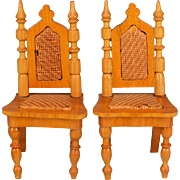 """Pair of Antique Schneegas Dollhouse Dining Room Side Chairs – Late 1800s 1"""" Scale"""