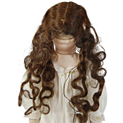 SOLD Old human hair piece for wax dolls center part extra long wavy dark brunette for doll wig
