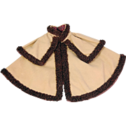 Old doll cape camel wool with brown silk looped braid trim