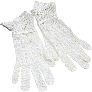 SALE Vintage white crocheted lace gloves fancy gauntlet style cuff for young woman or girl ...