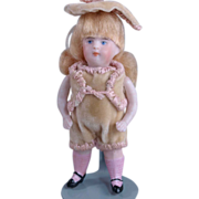 """German all bisque doll pink ribbed stockings boy  3 3/4"""" socket head"""