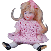 """All bisque doll house doll original mohair wig  3 1/2"""""""
