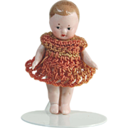 Little all bisque doll Germany  crocheted dress   2 1/4""