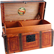 """SOLD Old doll trunk with tray paper cover small 11 1/2"""""""