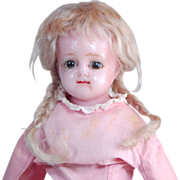 Antique wax over mache doll brown sleep eyes TLC 14""