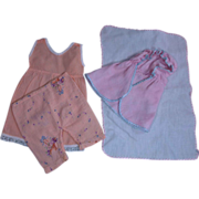 Group vintage doll clothes diaper pink flannel layette