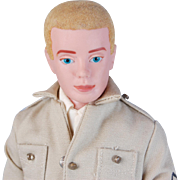 Flocked hair blonde Ken Airforce/Army military TM Mattel Pats Pend Japan tagged clothes  excel