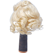 SOLD Small blonde mohair doll wig soft ringlets 5-6""