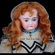 "SOLD English mohair doll wig light auburn  7.5 - 8"""