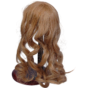 "SOLD Antique doll wig HH long blonde waves hand wefted hand sewn cap 9 1/2"" head circ. -"