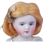 SOLD Tiny blonde mohair doll wig for all bisque and small dolls head circ.  3 1/2""