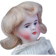 "SOLD Tiny blonde mohair doll wig  for all bisque dolls  head circ.  3"" - 3 1/2"""
