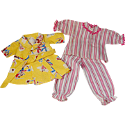 Vintage flannel doll's PJ's bedtime pajamas and bath robe