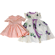 Pair vintage doll dresses peachy pink and purple floral printed seersucker