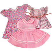 Three  vintage 1950's doll dresses mommy made pink prints