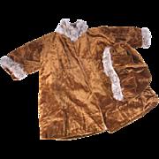 SALE Antique doll coat and beret fur trimmed gold silk velvet for large 24-26 ...