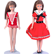 Vintage 1964-1966 Mattel Skipper doll brunette straight leg original swim suit and extra dress