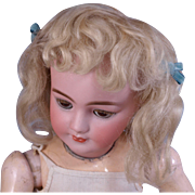 SOLD Antique light blonde mohair doll wig center hair medallion and short curly bangs    11-12